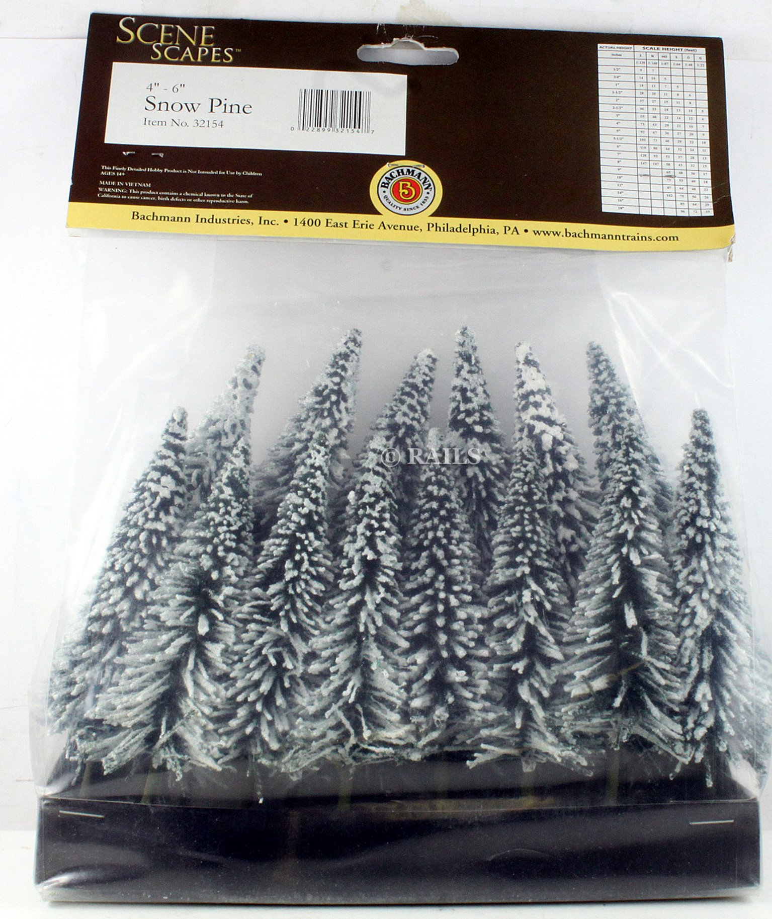 Pack of 24 Assorted Snow Pine Trees