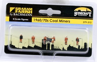 'N' Gauge Figures - 1960/70s Coal Miners