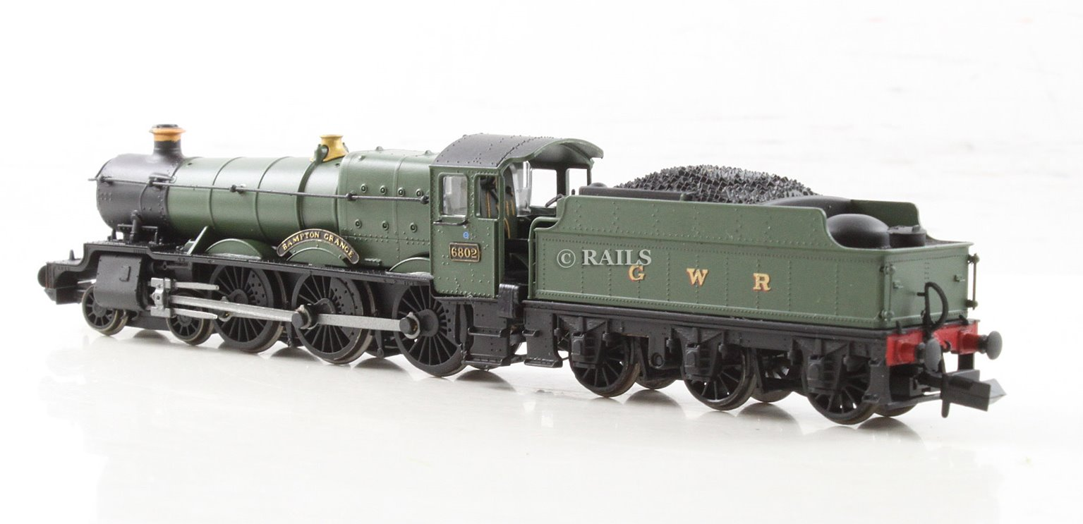"Class 6800 4-6-0 6802 ""Bampton Grange"" in GWR green with 'G & W' lettering"
