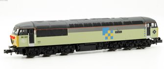 Class 56 diesel locomotive 56001 in Railfreight triple grey construction sector
