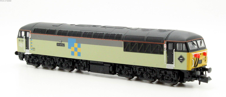 Class 56 diesel locomotive 56001 in Railfreight triple grey construction sector