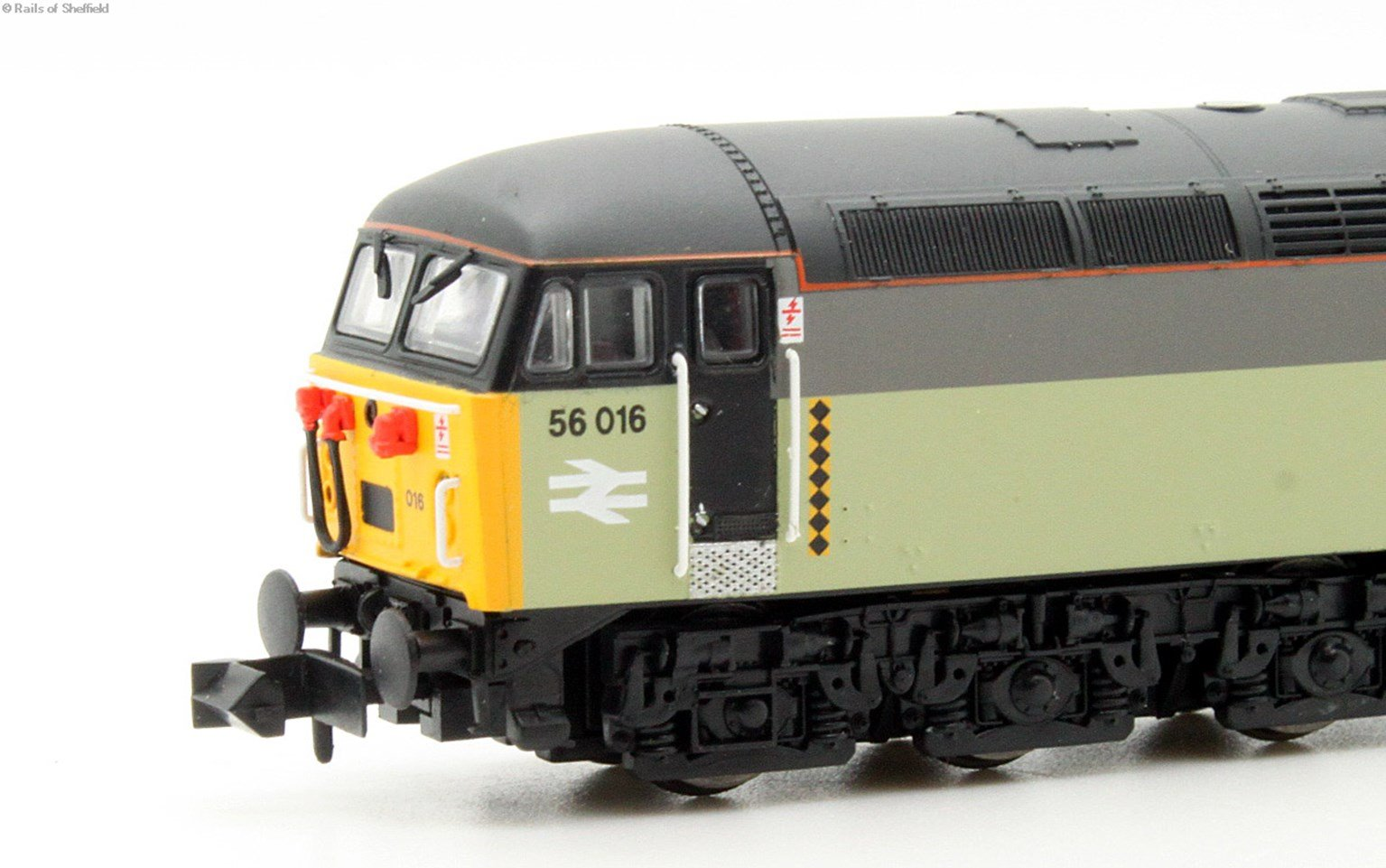 Class 56 diesel locomotive 56016 in Railfreight triple grey coal sector. DCC Fitted