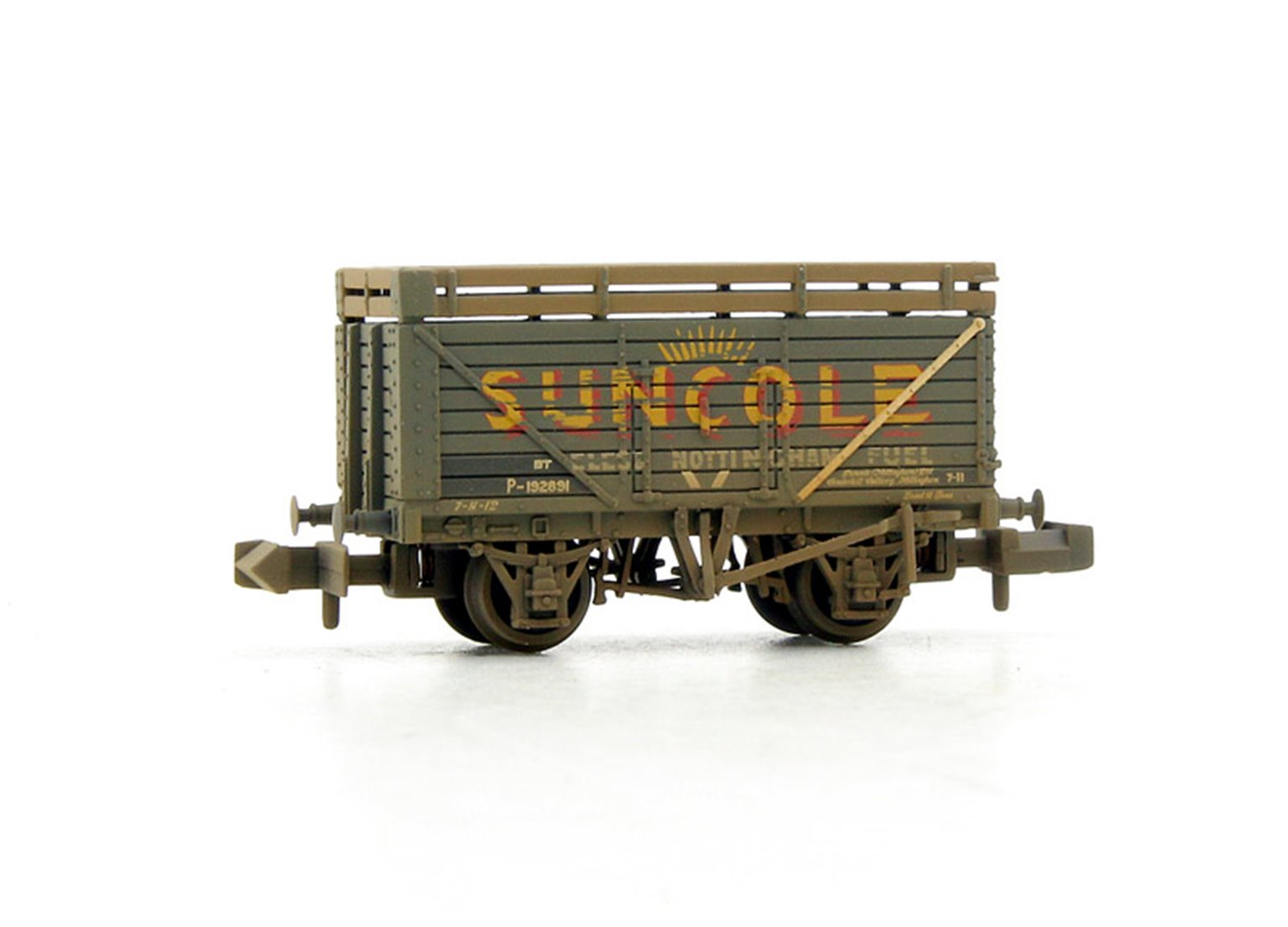 8 Plank Wagon with Coke Rails 'Suncole' (P Number) - Weathered