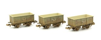 N Scale Triple Pack Steel Tippler Wagons BR Grey 'Iron Ore' Weathered