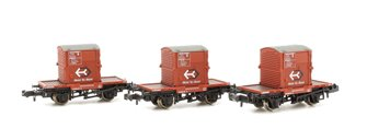 Triple Pack Conflat Wagons BR Bauxite A Containers