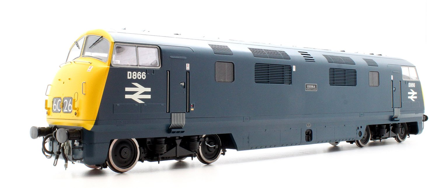 Class 42 Warship D866 'ZEBRA' in Blue with Full Yellow Ends and Double Arrow Symbols on the cabsides