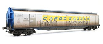 Cargowaggon Bogie Ferry Van (Silver and Blue) - Weathered with Graffiti