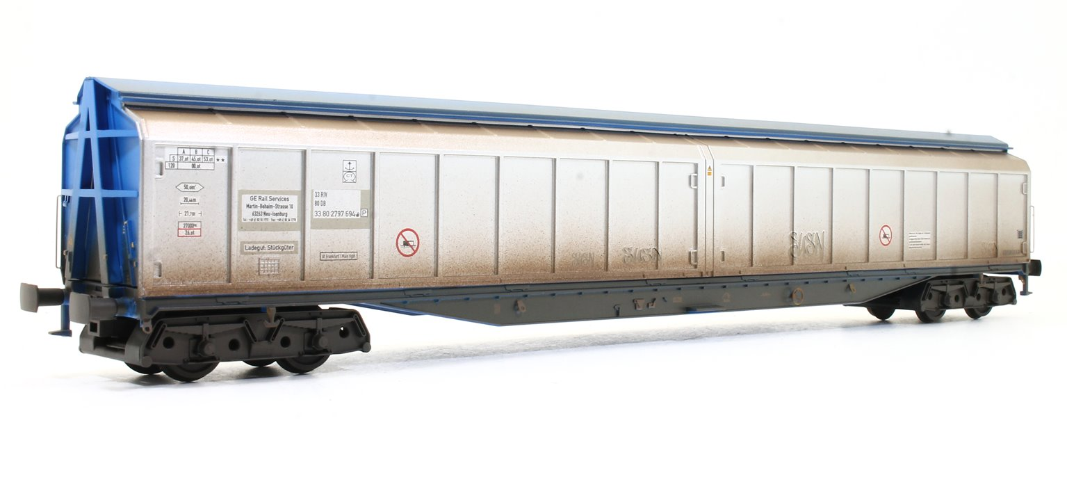 Cargowaggon Bogie Ferry Van (Unbranded Silver and Blue) Weathered with Graffiti