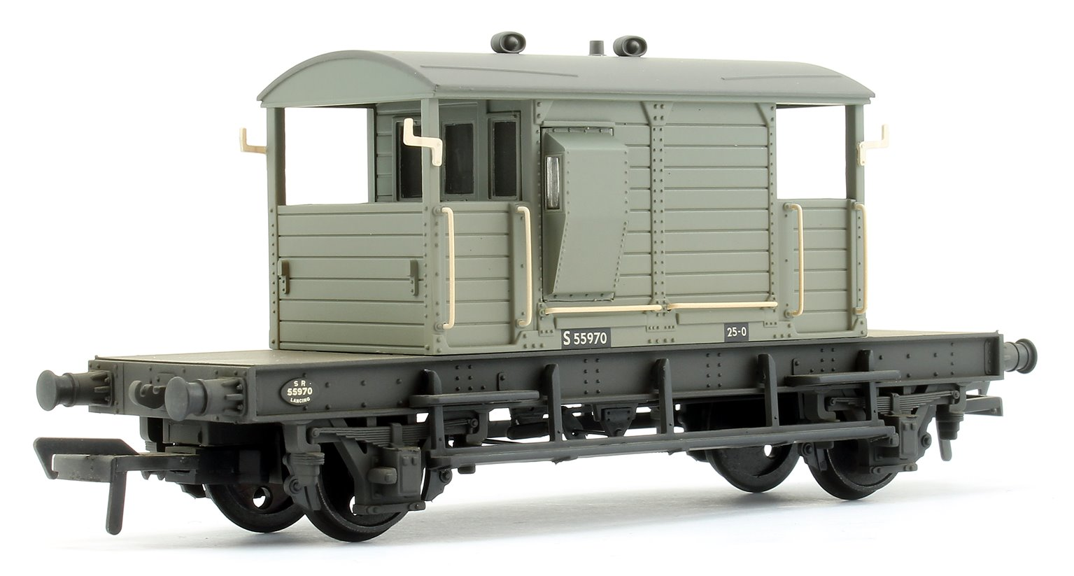 SR 25T 'Pill Box' Brake Van Left-Hand Duckets BR Grey (Early) - Weathered