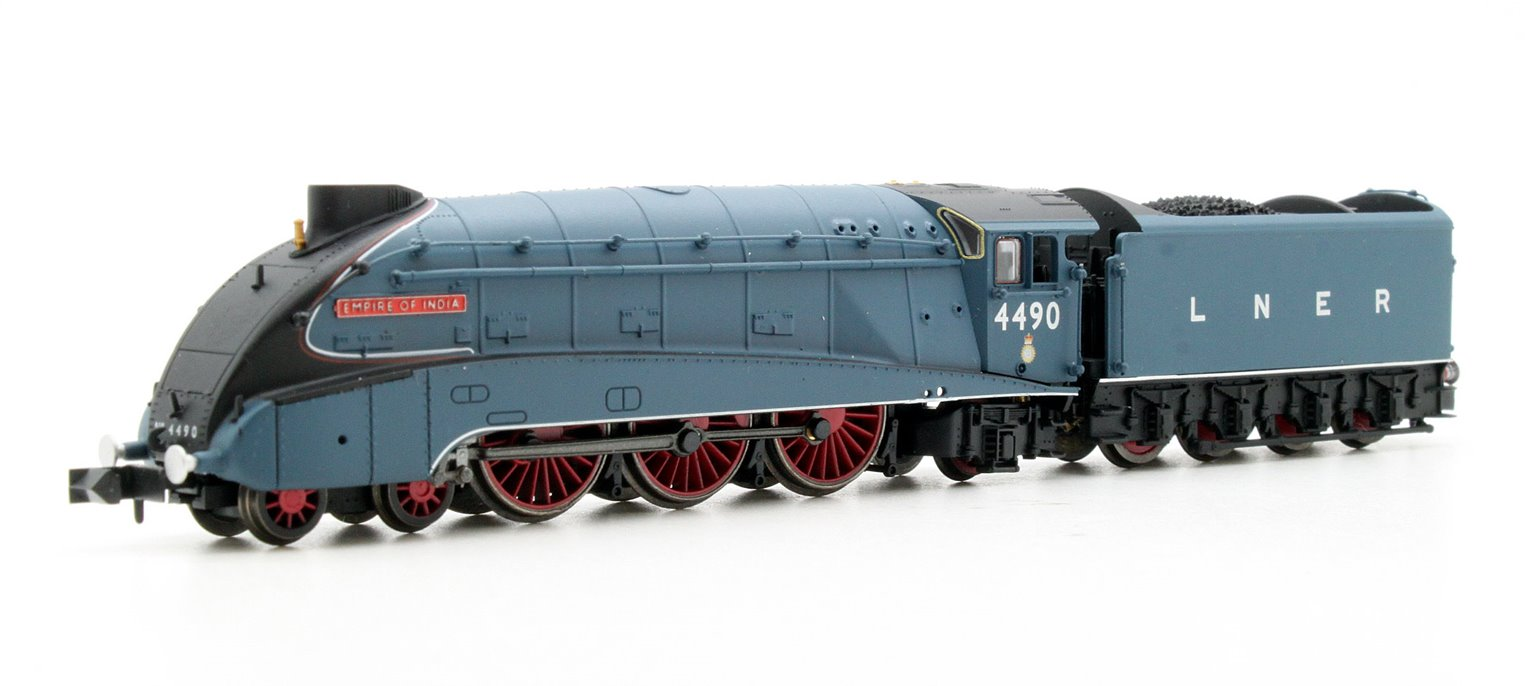 """Class A4 4-6-2 #4490 """"Empire of India"""" in LNER garter blue with valances"""