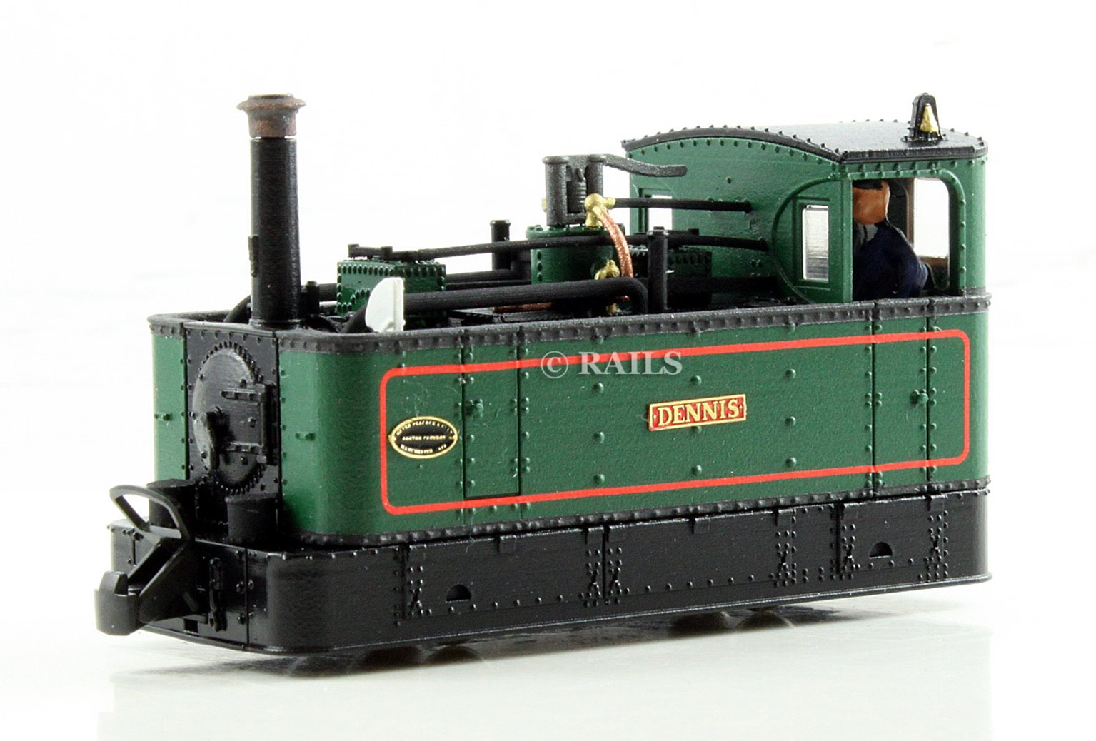 FOURDEES LIMITED OO9 SCALE 42-203 'DENNIS' LINED GREEN GLYN VALLEY TRAMWAY LOCO