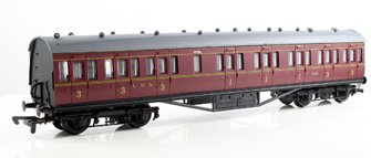 57ft Stanier Non Corridor Composite LMS Maroon Lined Coach 19195