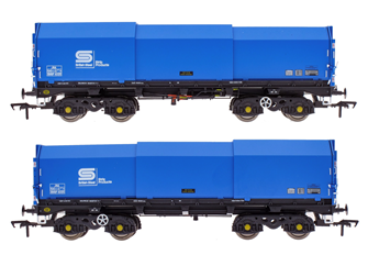 JSA Bogie Covered Steel Wagon Twin Pack - British Steel 1 - BSSP 4025, BSSP 4032