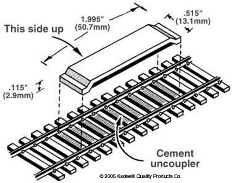 Delayed Between the Rails Magnet Uncoupler Code 100(1pr)