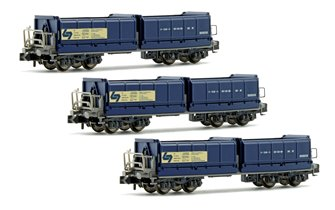 Set of 3 N Gauge Blue Tipper Wagons (WLB Ep.V)