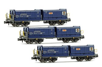 Set of 3 N Gauge Blue Tipper Wagons (RTS/Swietelsky SBB CFF)