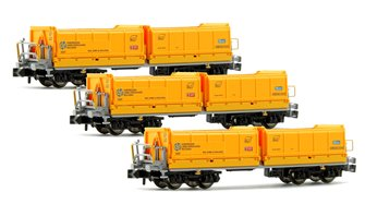 Set of 3 N Gauge Yellow Tipper Wagons (CLF Ep.V 7407)