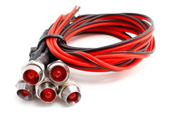 DCC Concepts LED-RDCP Red Chrome Mount Common & Pre-Wired LEDs (6)