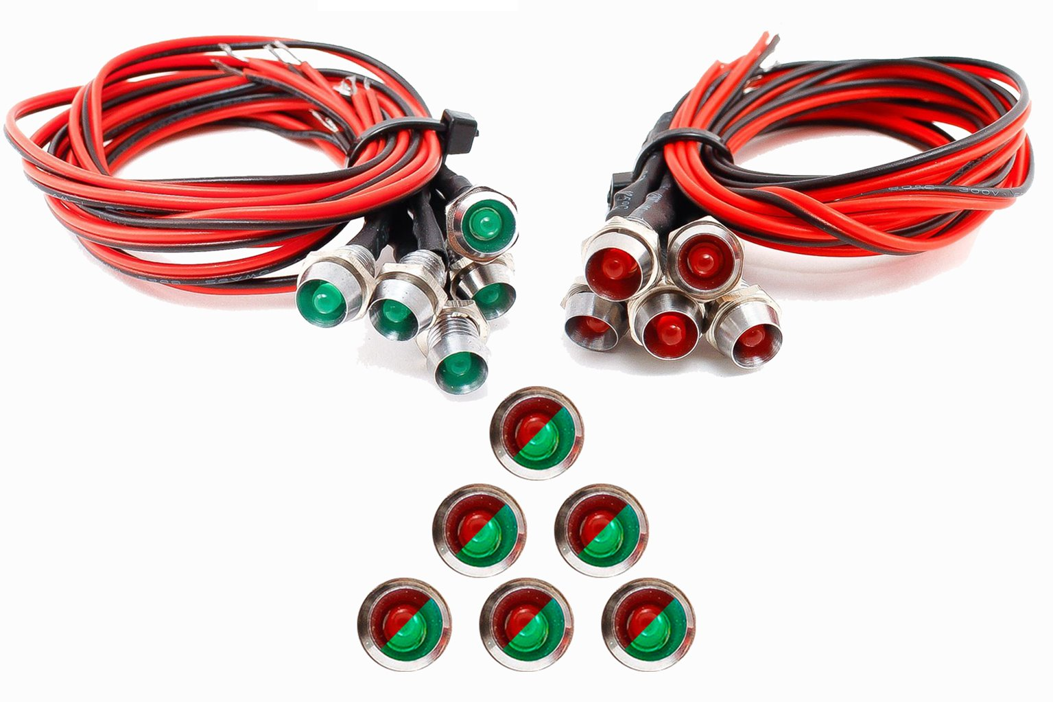 Chrome Mounted Panel 6x Pre-wired Red/Green