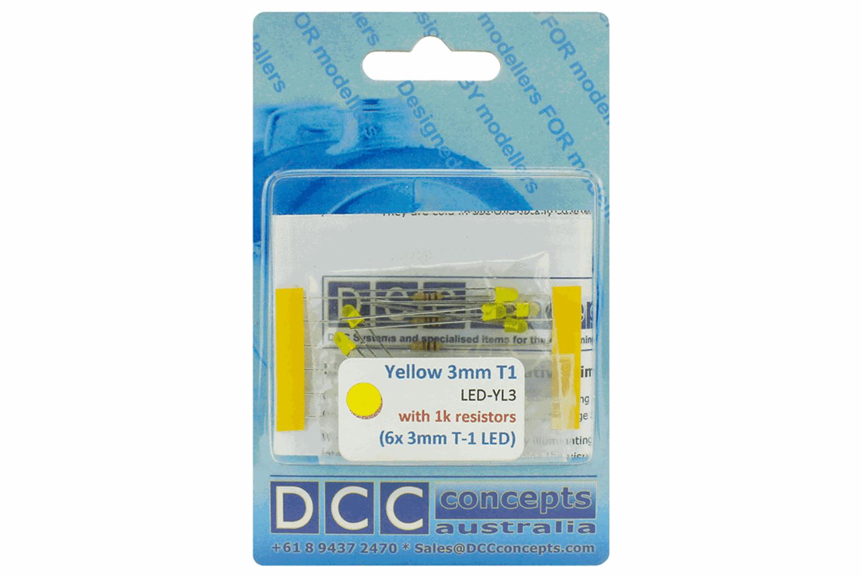 T1 Type  6x 3mm (w/Resistors)  Yellow