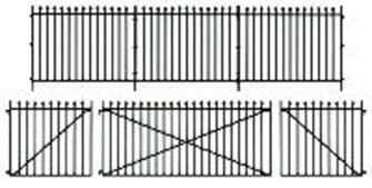 Peco LK-741 GWR Spear Fencing, Straight panels, gates & posts