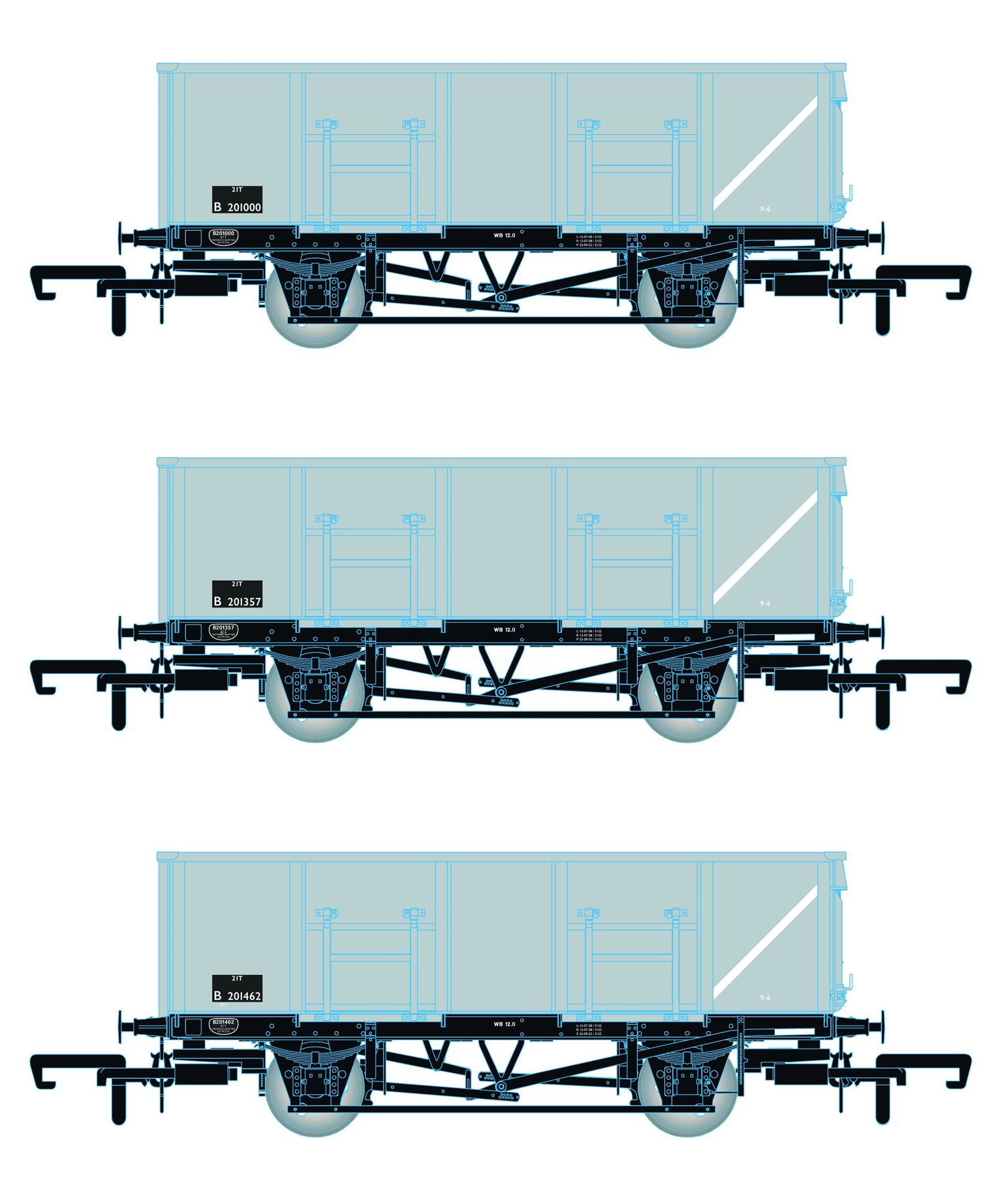 BR 21T COAL21 / MDO Mineral Wagon Triple Pack - Grey pre TOPS- Pack A