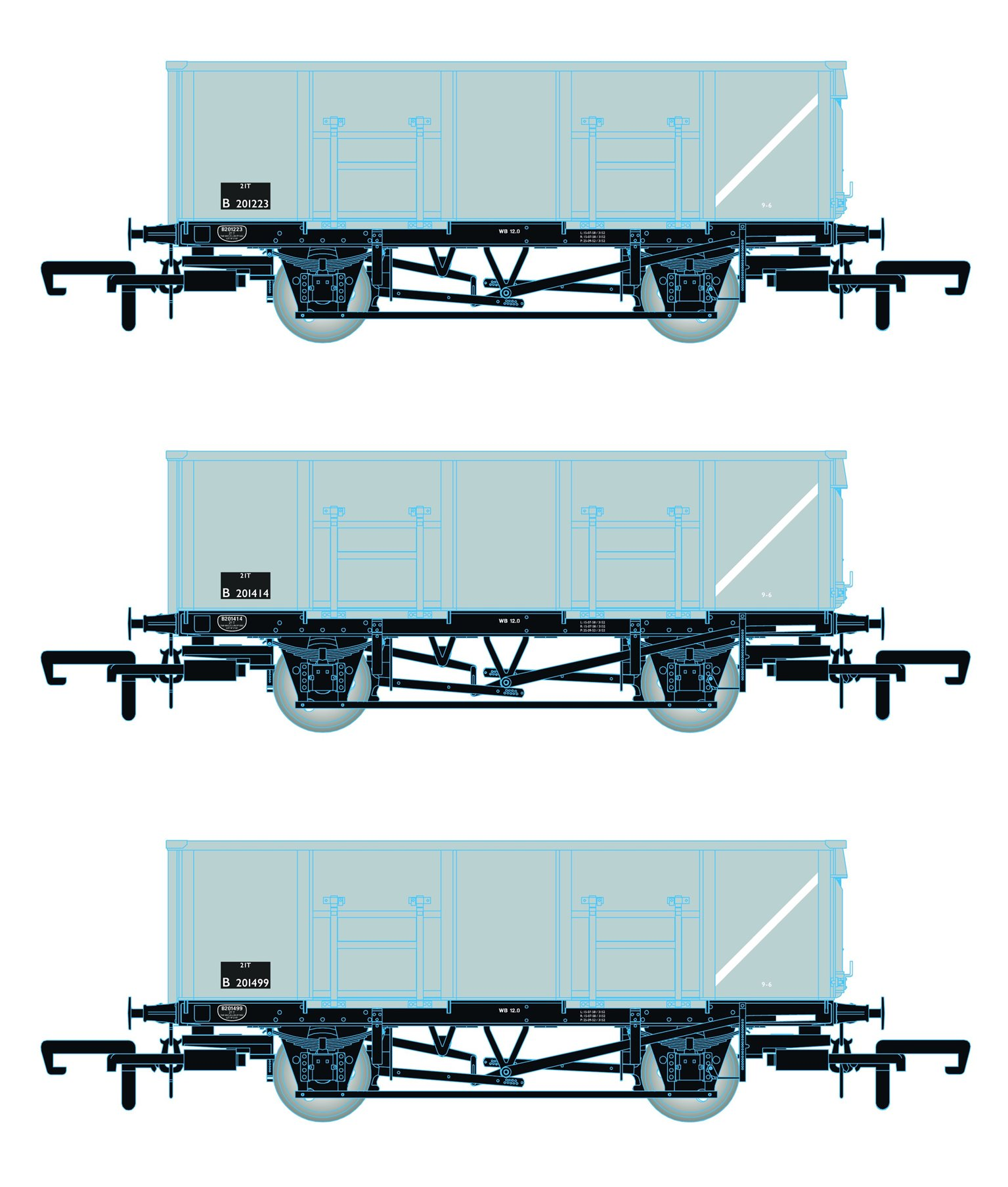 BR 21T COAL21 / MDO Mineral Wagon Triple Pack - Grey pre TOPS- Pack B