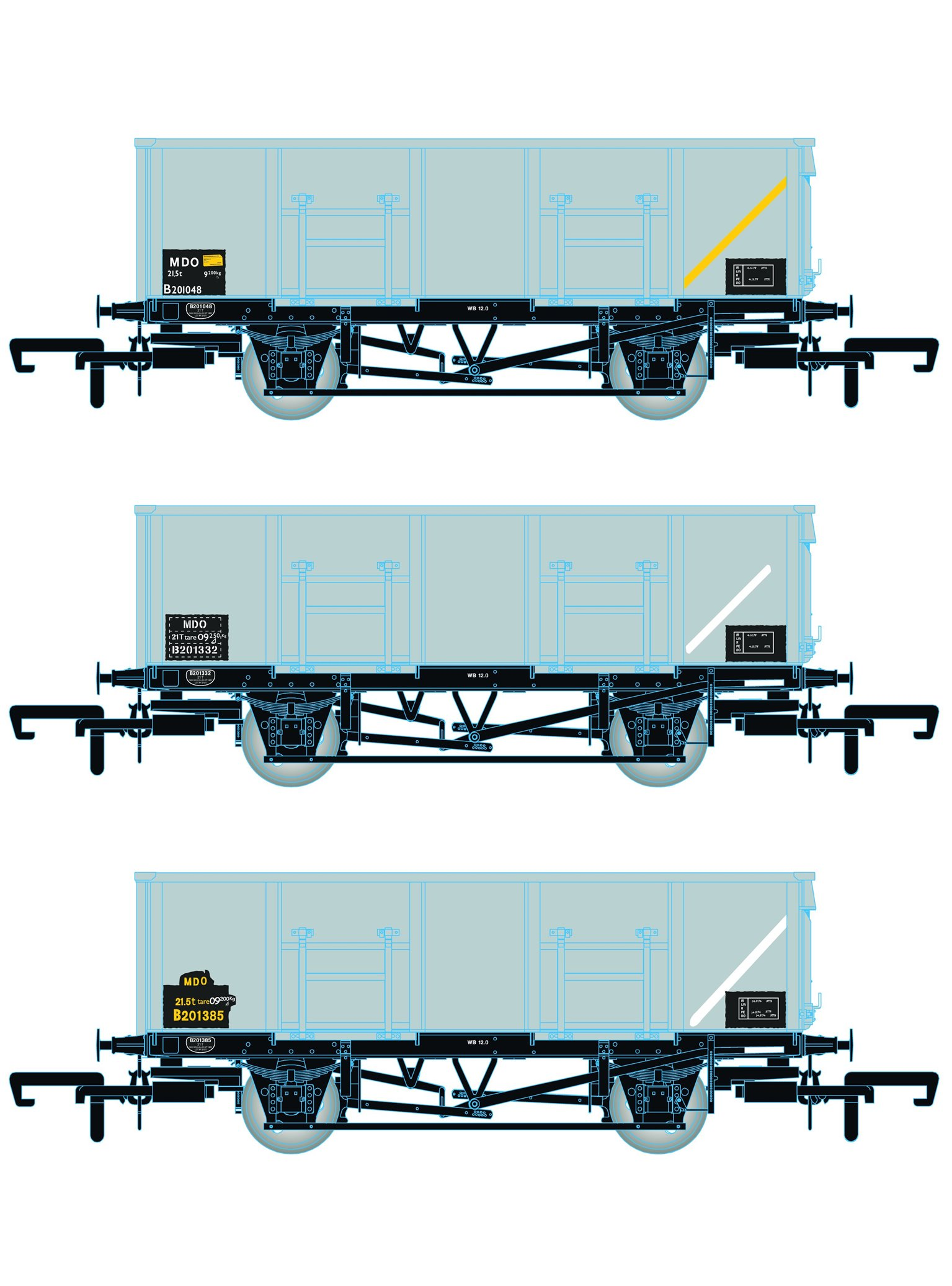 BR 21T COAL21 / MDO Mineral Wagon Triple Pack - Grey TOPS- Pack D