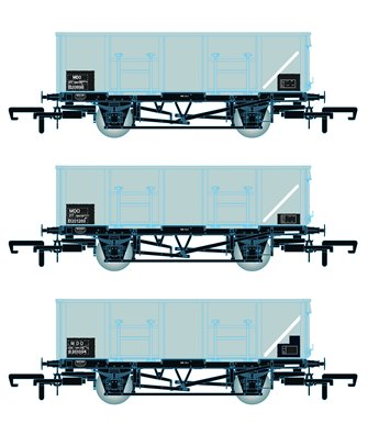 BR 21T COAL21 / MDO Mineral Wagon Triple Pack - Grey TOPS- Pack E