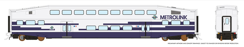 HO BiLevel Commuter Car - Metrolink - 1 pack Unnumbered Car