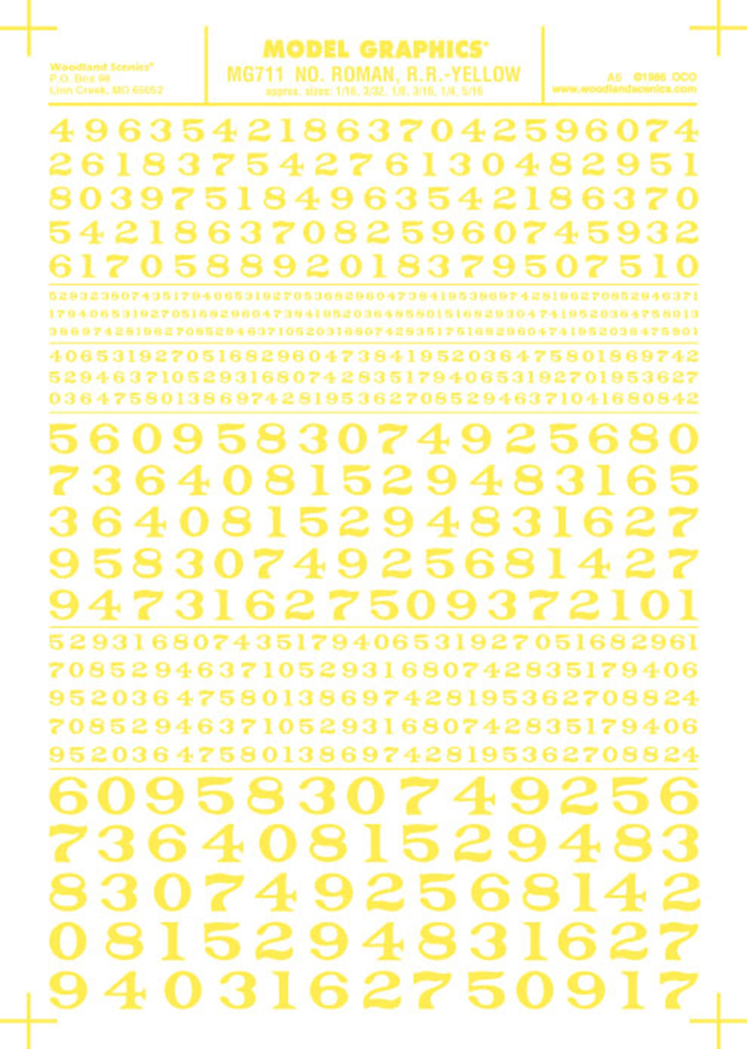 Number Roman. R.R Yellow Transfer Decals