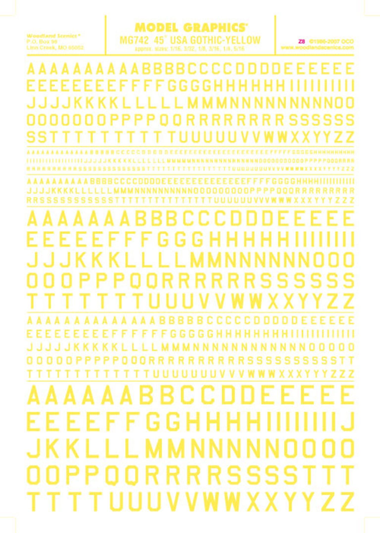 45° USA Gothic - Yellow Dry Transfer Decals