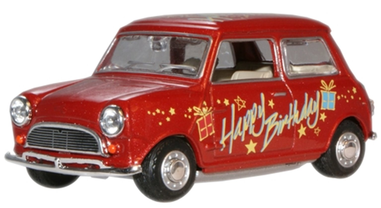 "Oxford Diecast MIN017 Mini Car ""Happy Birthday"""