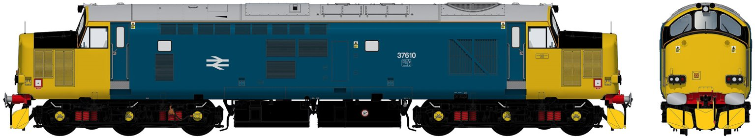 Class 37/6 37610 HNRC BR Blue (Wrap Around Yellow Noses) Diesel Locomotive