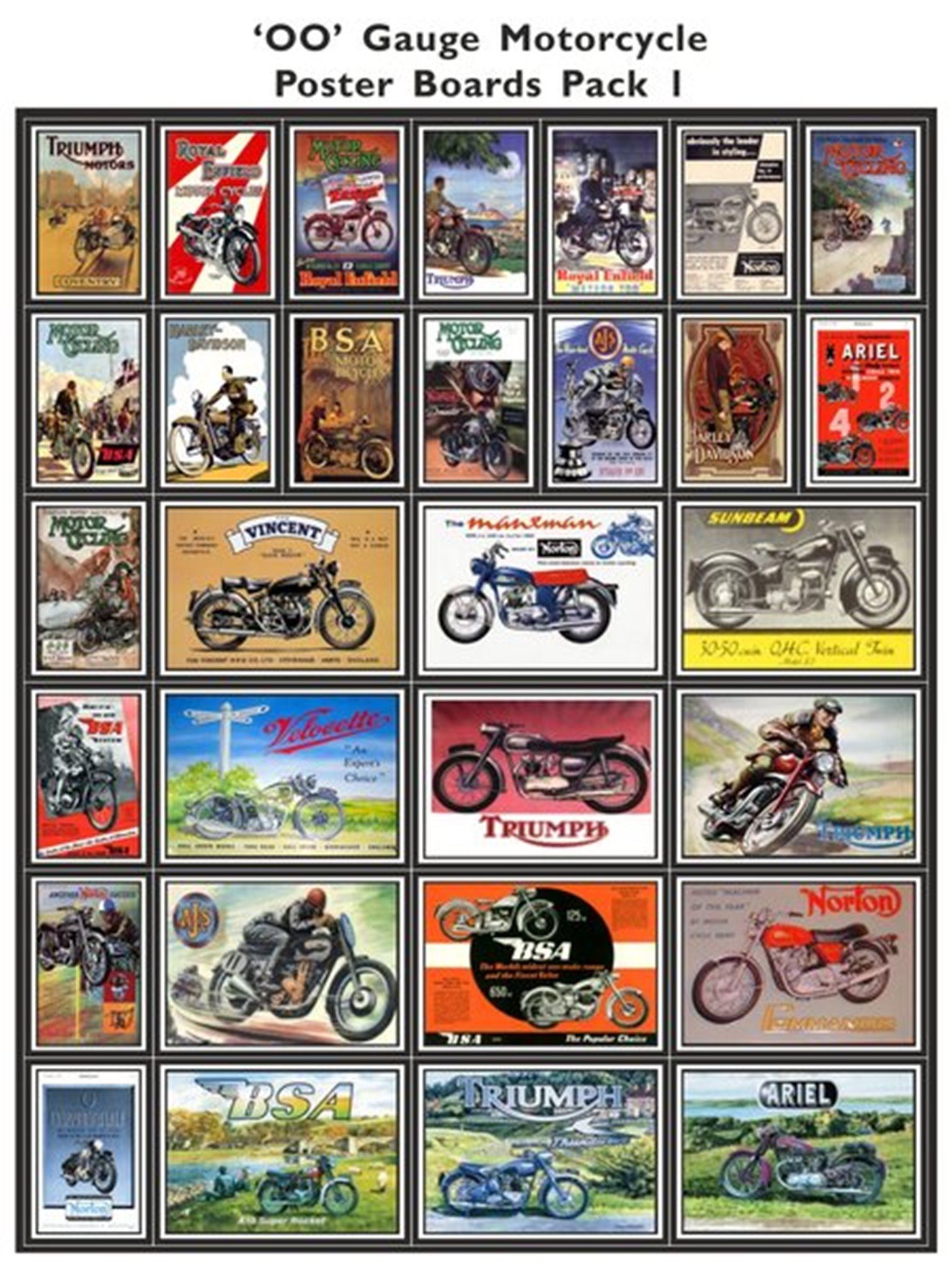 Motorcycle Poster Boards Pack 1