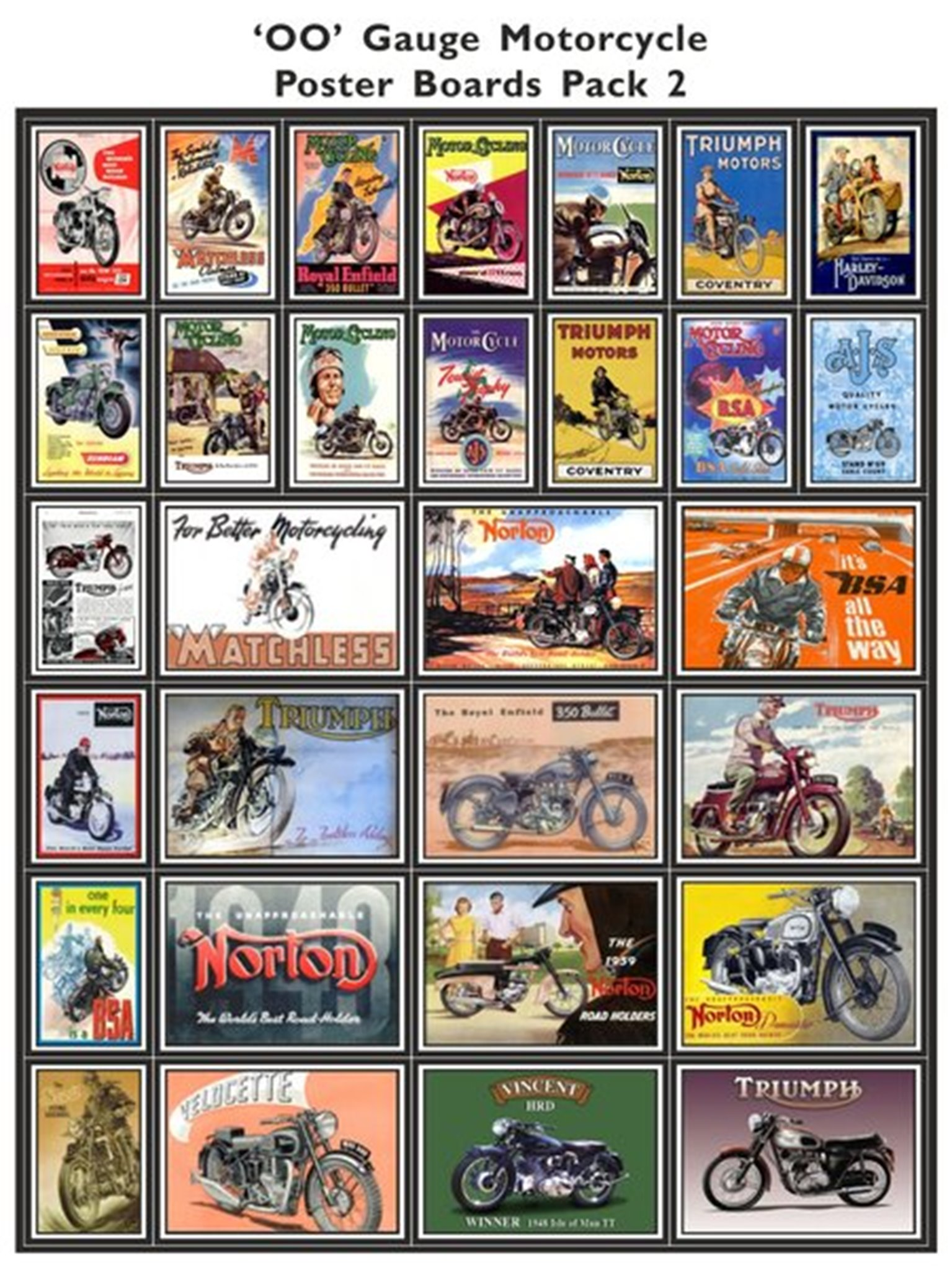 Motorcycle Poster Boards Pack 2
