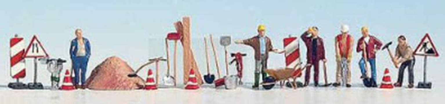 Road Maintenance Workers (6) And Accessories Figure Set