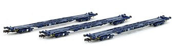 Set of 3 PFA Container Flat Wagons Blue GPS Bogies