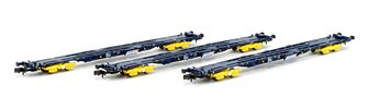 Set of 3 PFA Container Flat Wagons Tiphook GPS Bogies