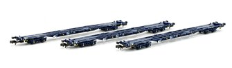 Set of 3 KFA Container Flat Wagons Tiphook VNH-1 Bogies