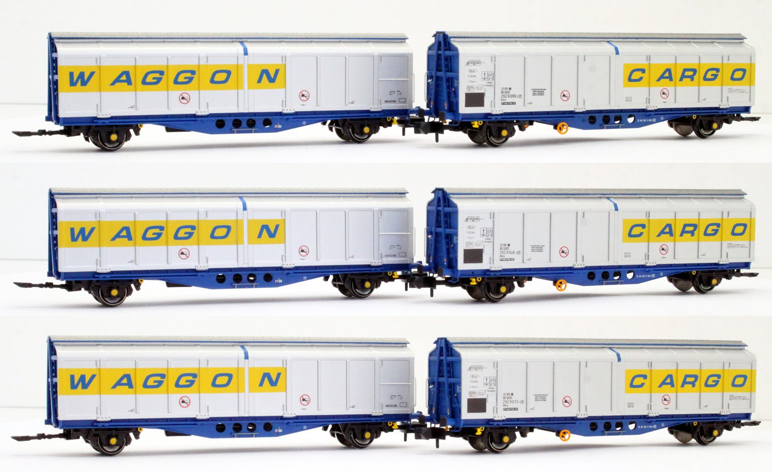 Revised livery IZA Cargowaggon twin sets – triple pack