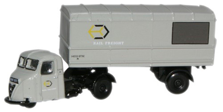 Oxford Diecast NRAB003 Scammell Scarab Van Trailer Railfreight Grey.