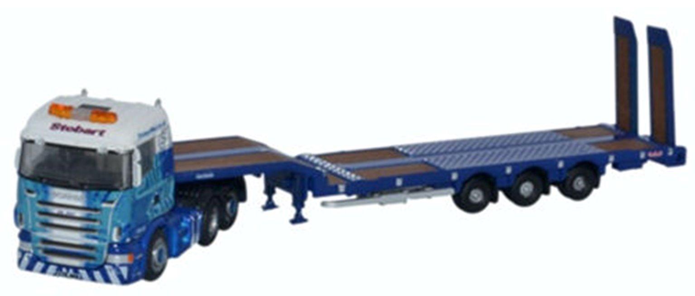 Oxford Diecast NSHL01ST Scania Highline Nooteboom 3 Axl Semi L/Loader Stobart Rail
