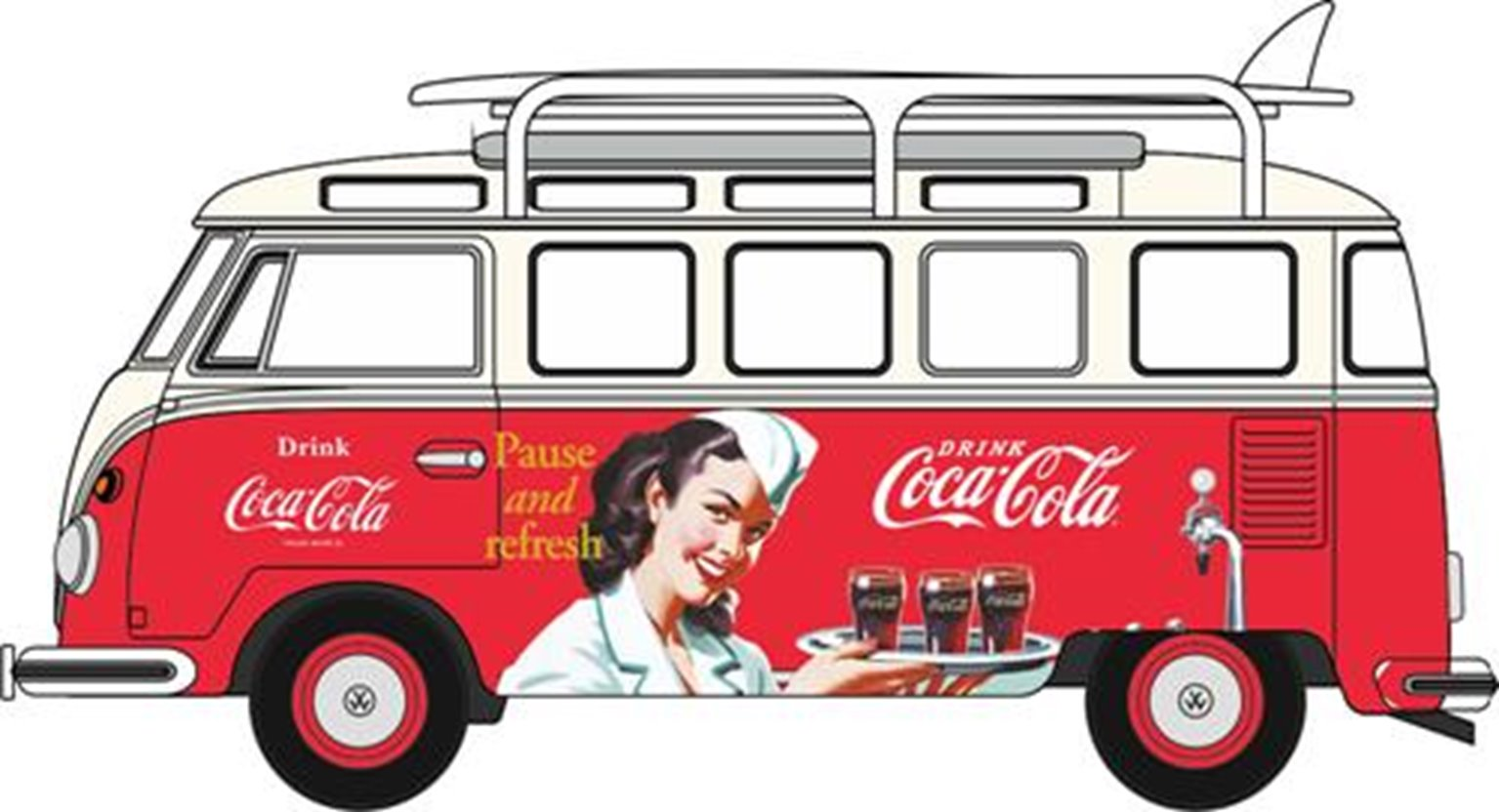 VW T1 Bus and Surfboards Coca Cola