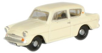 Oxford Diecast N105005 Ford Anglia Sunburst Yellow/Cirrus White