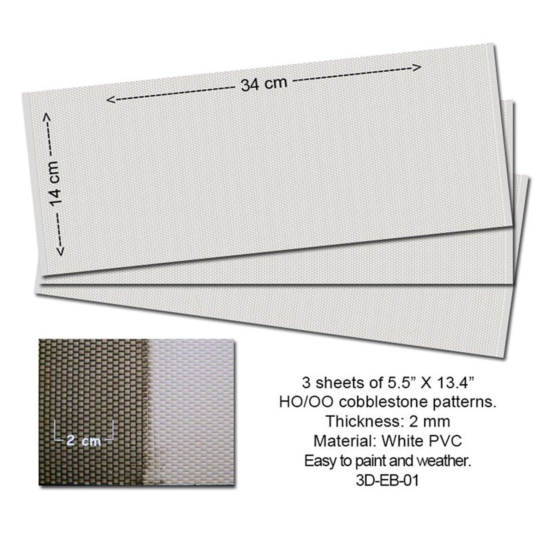 Embossed PVC Sheets (Cobblestone) 3 pcs.