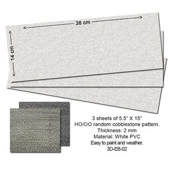 Embossed PVC Sheets (Random Cobblestone) 3 pcs.