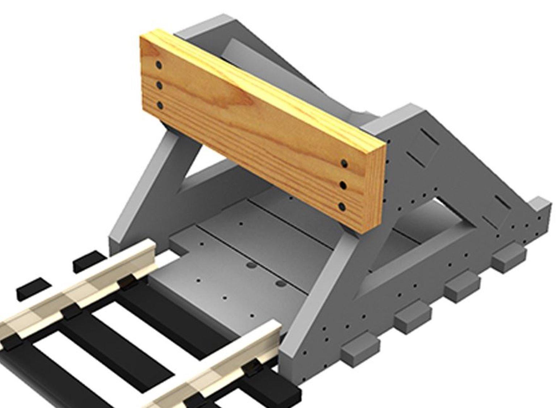 2 X N Scale Buffer Stop w/Wooden Bumper