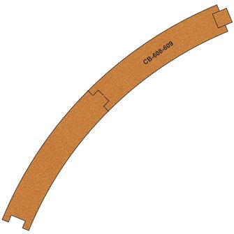 10 X Pre-Cut Cork Bed for R608-609 R3 Curve Tracks