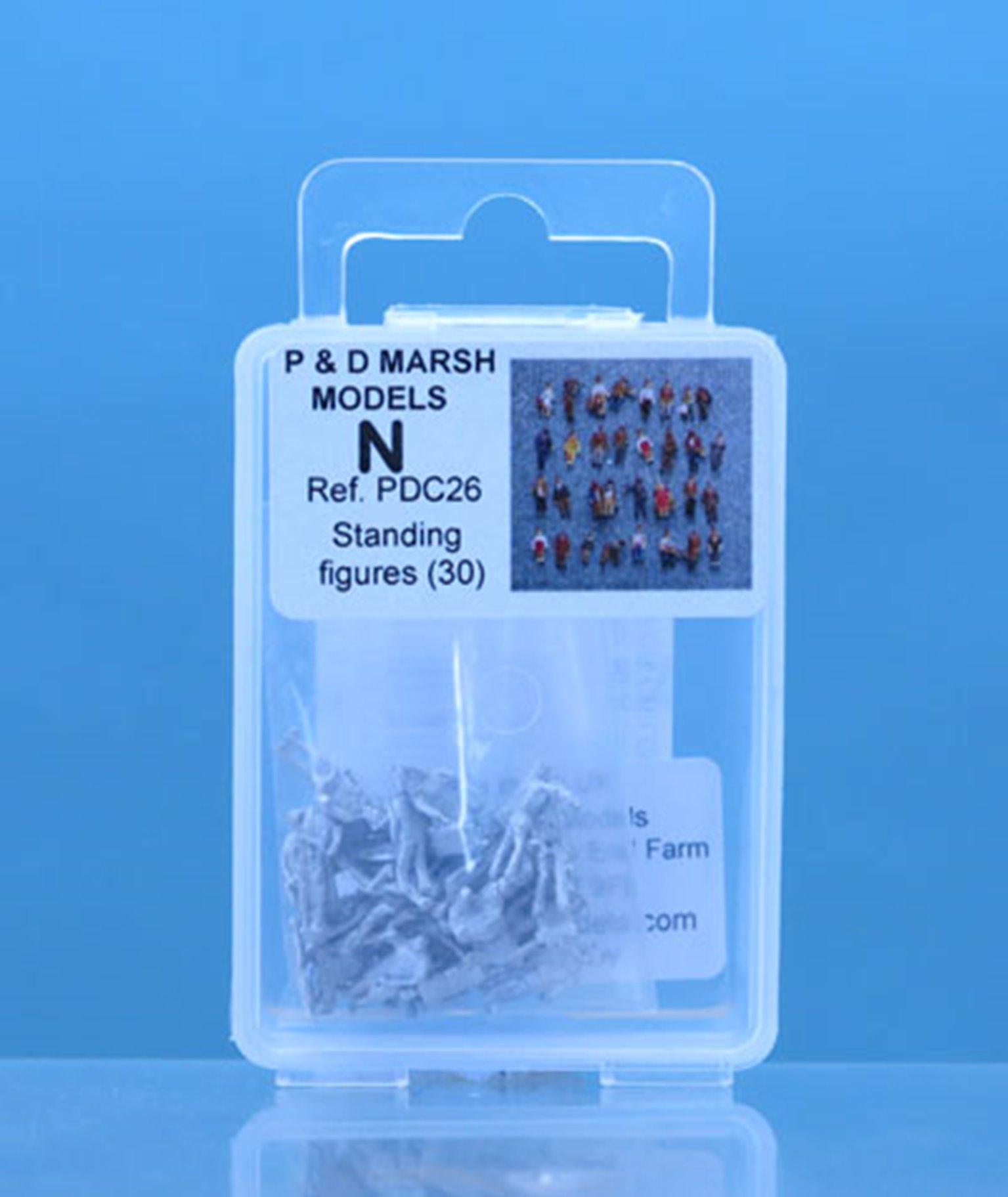 PDC26 P&D Marsh N Gauge 30 Standing Figures  - UNPAINTED